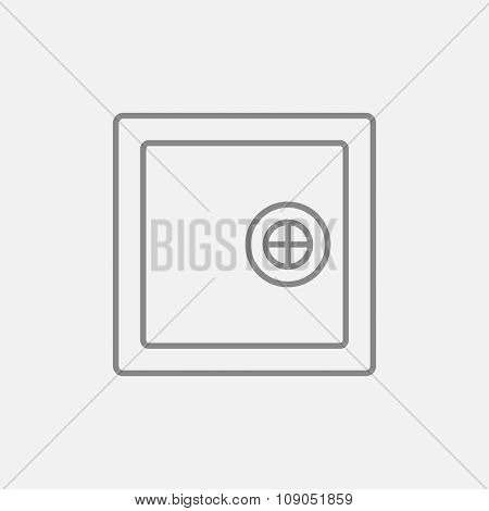 Safe line icon for web, mobile and infographics. Vector dark grey icon isolated on light grey background.