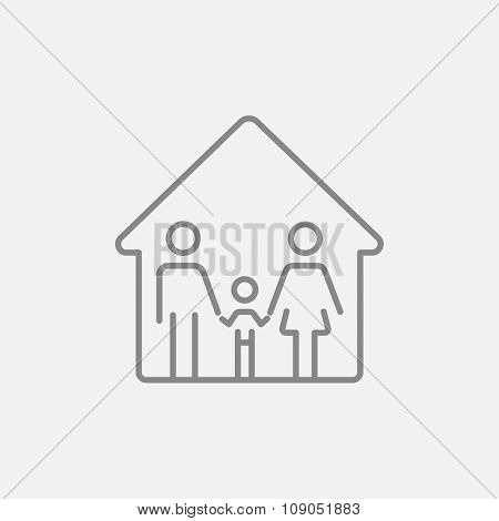 Family house line icon for web, mobile and infographics. Vector dark grey icon isolated on light grey background.