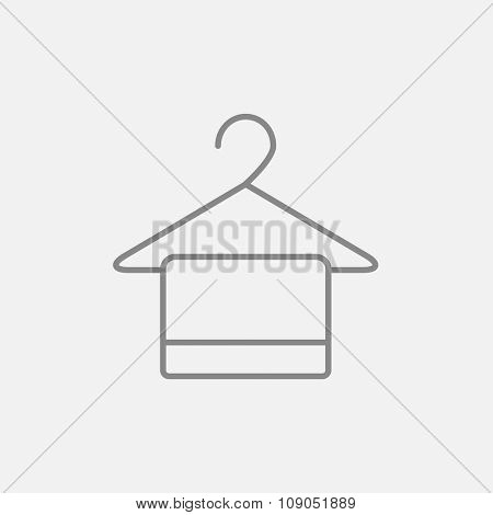 Towel on hanger line icon for web, mobile and infographics. Vector dark grey icon isolated on light grey background.
