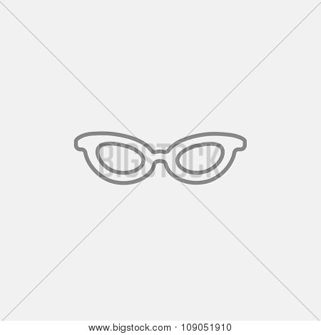 Eyeglasses line icon for web, mobile and infographics. Vector dark grey icon isolated on light grey background.