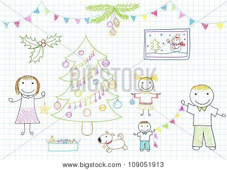 Happy family - mom, dad and two children decorates Christmas tree. Sketch on notebook page