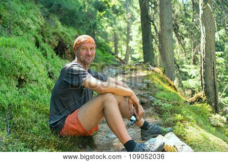 Happy Hiker Man Is Resting With Gps Receiver In Hand