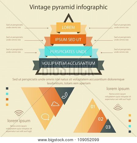 Business Pyramid Infographic Vintage Colors Vector