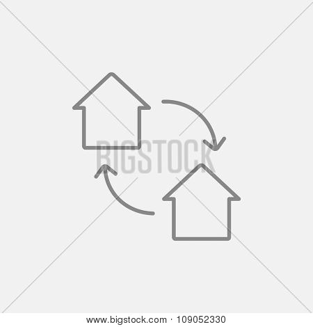 House exchange line icon for web, mobile and infographics. Vector dark grey icon isolated on light grey background.