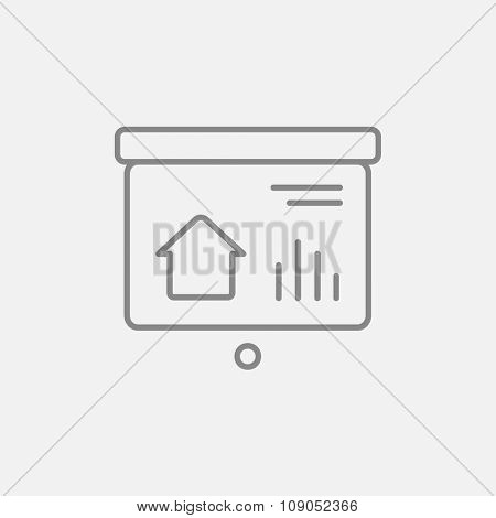Presentation on the projector screen line icon for web, mobile and infographics. Vector dark grey icon isolated on light grey background.