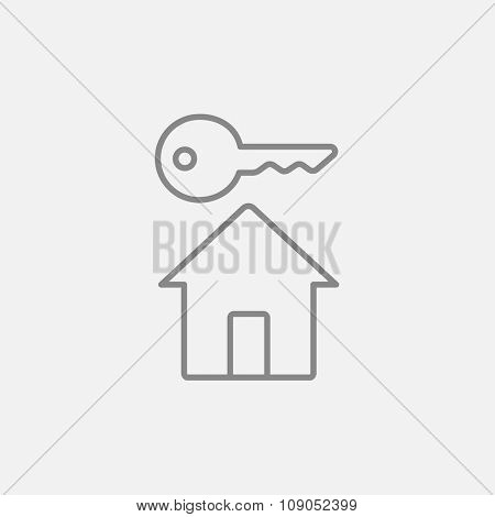 Key for house line icon for web, mobile and infographics. Vector dark grey icon isolated on light grey background.