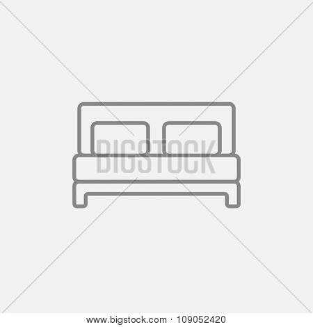 Double bed line icon for web, mobile and infographics. Vector dark grey icon isolated on light grey background.
