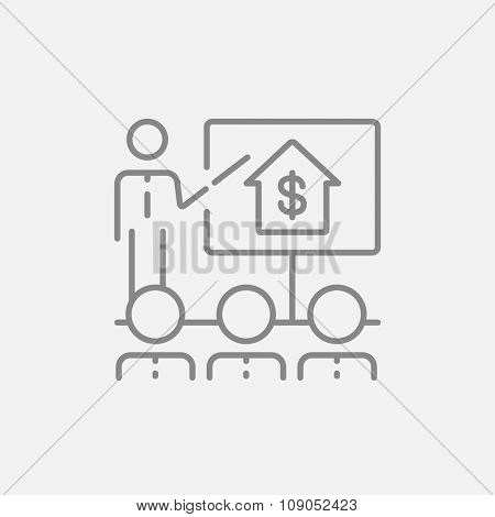 Real estate training line icon for web, mobile and infographics. Vector dark grey icon isolated on light grey background.
