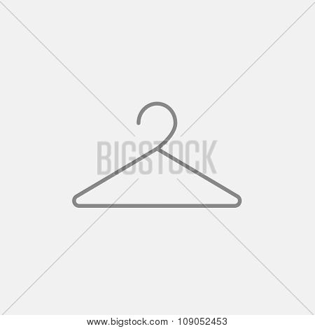 Hanger line icon for web, mobile and infographics. Vector dark grey icon isolated on light grey background.