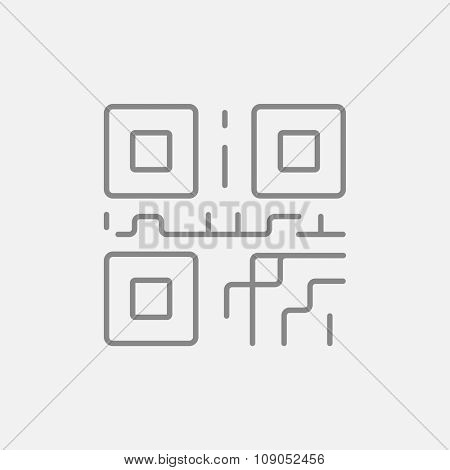 QR code line icon for web, mobile and infographics. Vector dark grey icon isolated on light grey background.