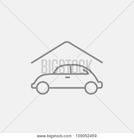 Car garage line icon for web, mobile and infographics. Vector dark grey icon isolated on light grey background.