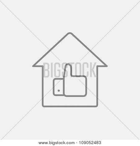 Thumb up in house line icon for web, mobile and infographics. Vector dark grey icon isolated on light grey background.