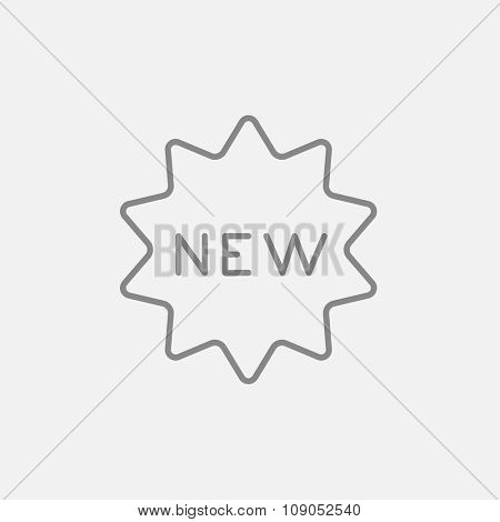 New tag line icon for web, mobile and infographics. Vector dark grey icon isolated on light grey background.