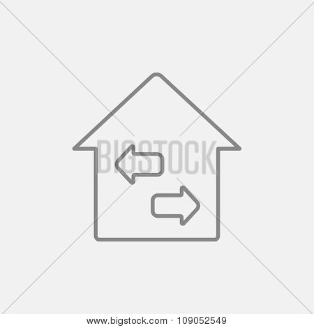 Property resale line icon for web, mobile and infographics. Vector dark grey icon isolated on light grey background.