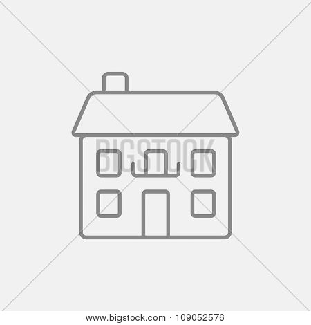 Two storey detached house line icon for web, mobile and infographics. Vector dark grey icon isolated on light grey background.