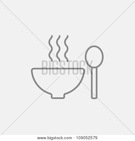Bowl of hot soup with spoon line icon for web, mobile and infographics. Vector dark grey icon isolated on light grey background.