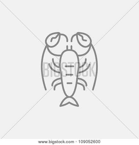 Lobster line icon for web, mobile and infographics. Vector dark grey icon isolated on light grey background.