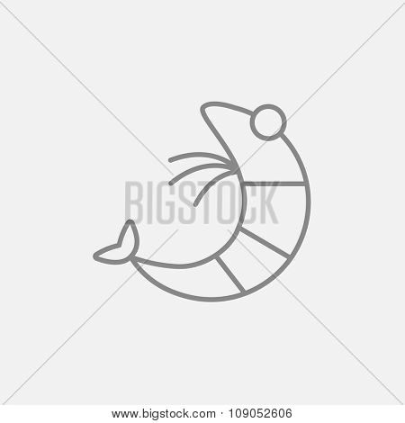 Shrimp line icon for web, mobile and infographics. Vector dark grey icon isolated on light grey background.