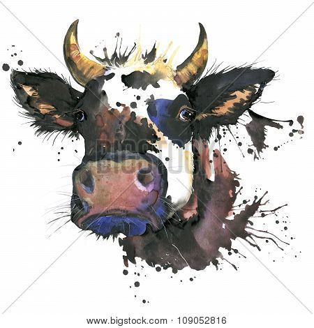 Cow watercolor graphics. cow  animal illustration with splash watercolor textured background. unusua