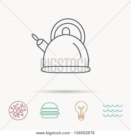 Teapot icon. Kitchen kettle sign.