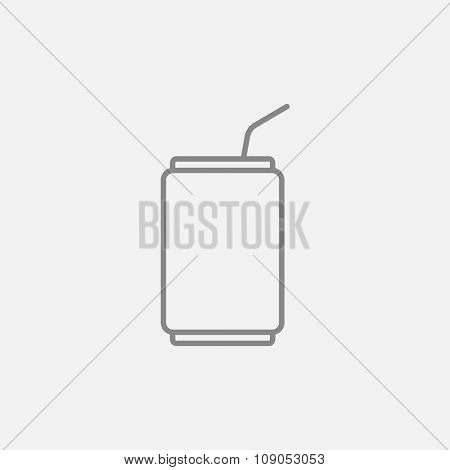 Soda can with drinking straw line icon for web, mobile and infographics. Vector dark grey icon isolated on light grey background.
