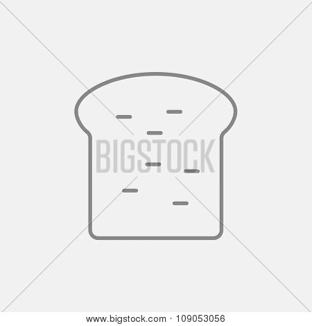 Single slice of bread line icon for web, mobile and infographics. Vector dark grey icon isolated on light grey background.