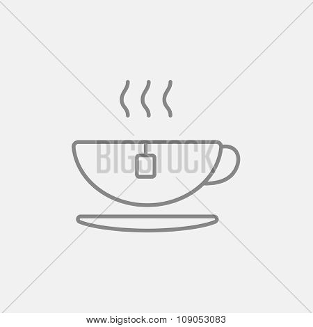 Hot tea in a cup line icon for web, mobile and infographics. Vector dark grey icon isolated on light grey background.