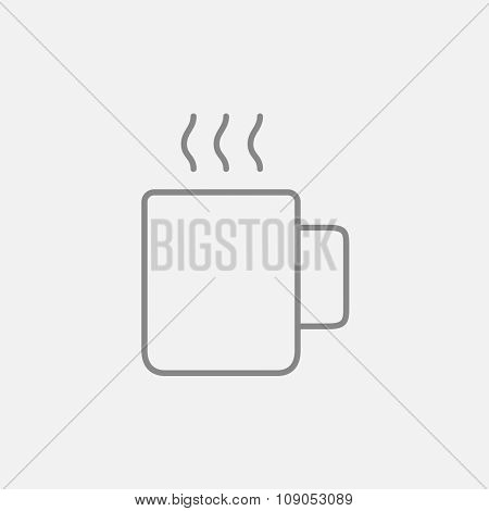 Mug of hot drink line icon for web, mobile and infographics. Vector dark grey icon isolated on light grey background.
