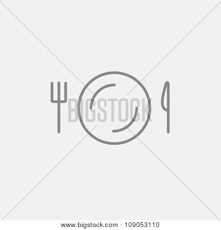 Plate with cutlery line icon for web, mobile and infographics. Vector dark grey icon isolated on light grey background.