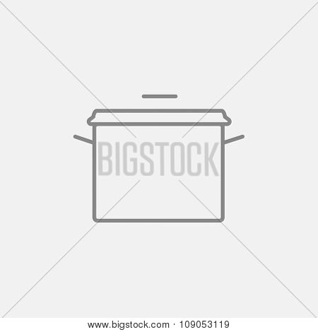 Saucepan line icon for web, mobile and infographics. Vector dark grey icon isolated on light grey background.