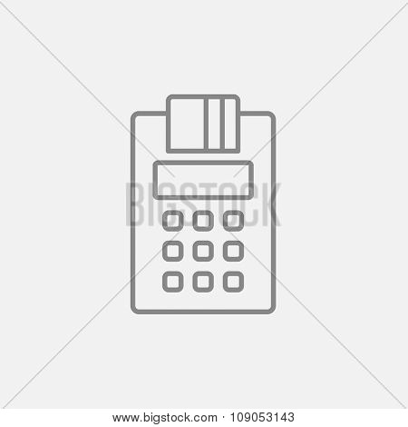 Cash register line icon for web, mobile and infographics. Vector dark grey icon isolated on light grey background.