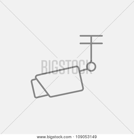 Outdoor surveillance camera line icon for web, mobile and infographics. Vector dark grey icon isolated on light grey background.