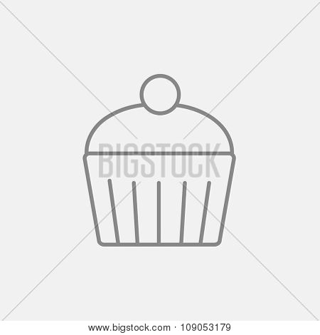 Cupcake with cherry line icon for web, mobile and infographics. Vector dark grey icon isolated on light grey background.