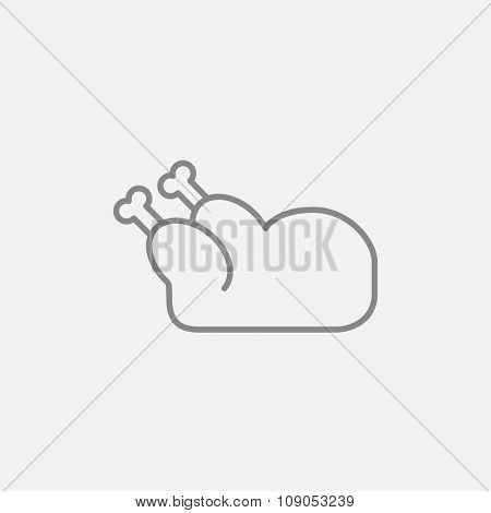Raw chicken line icon for web, mobile and infographics. Vector dark grey icon isolated on light grey background.