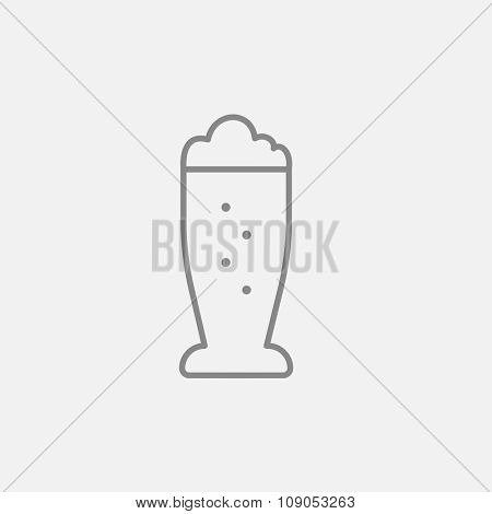 Glass of beer line icon for web, mobile and infographics. Vector dark grey icon isolated on light grey background.