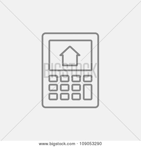 Calculator with house on display line icon for web, mobile and infographics. Vector dark grey icon isolated on light grey background.