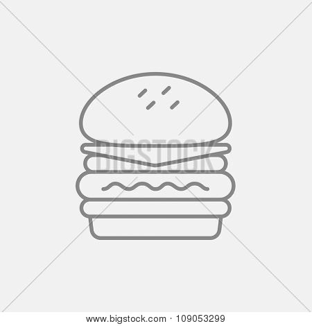 Double burger line icon for web, mobile and infographics. Vector dark grey icon isolated on light grey background.