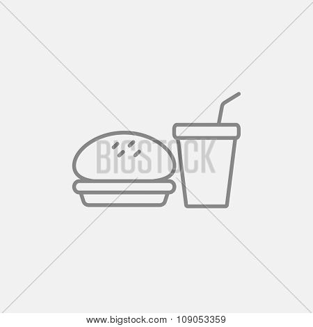 Fast food meal line icon for web, mobile and infographics. Vector dark grey icon isolated on light grey background.