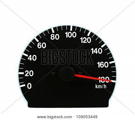 Automotive Speedometer On A White Background