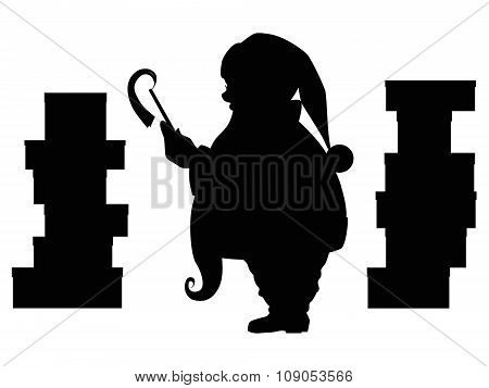 Santa Claus silhouette and piles of christmas gifts