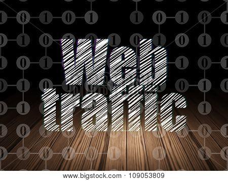 Web design concept: Web Traffic in grunge dark room