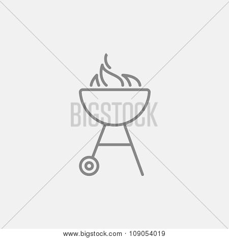 Kettle barbecue grill with flame line icon for web, mobile and infographics. Vector dark grey icon isolated on light grey background.