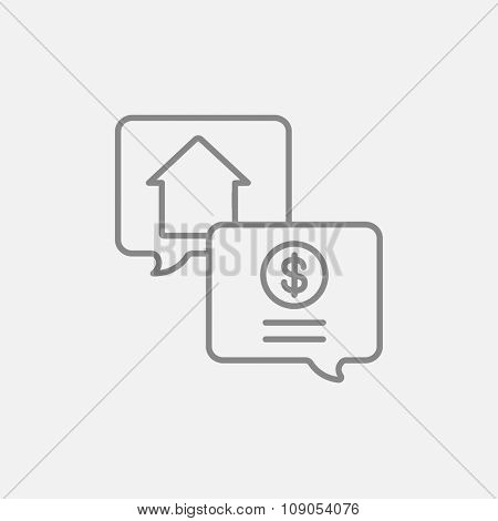 Real estate transaction line icon for web, mobile and infographics. Vector dark grey icon isolated on light grey background.