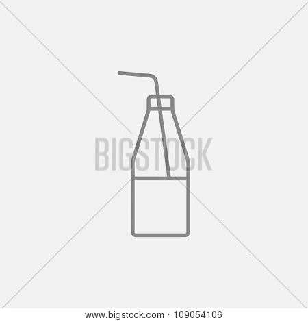 Glass bottle with drinking straw line icon for web, mobile and infographics. Vector dark grey icon isolated on light grey background.