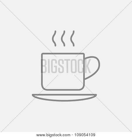 Cup of hot drink line icon for web, mobile and infographics. Vector dark grey icon isolated on light grey background.