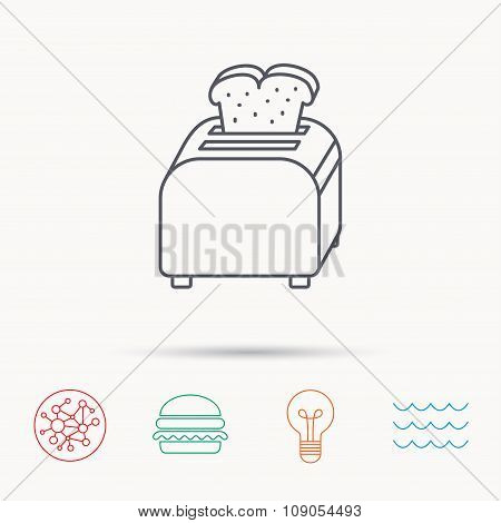 Toaster icon. Sandwich machine sign.