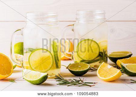Homemade Lemonade With Lime, Lemon, Rosemary.