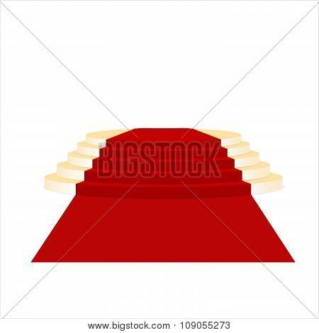 Golden ladder of fame and red carpet