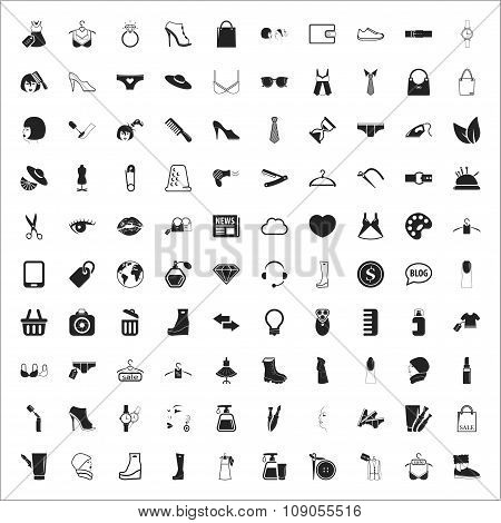 Fashion 100 Icons Universal Set For Web And Mobile