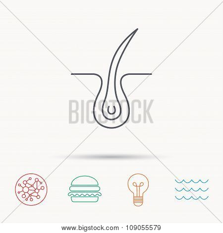 Trichology skin icon. Dermatology hair sign.